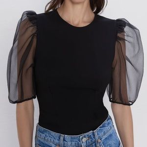 zara black organza sleeve top
